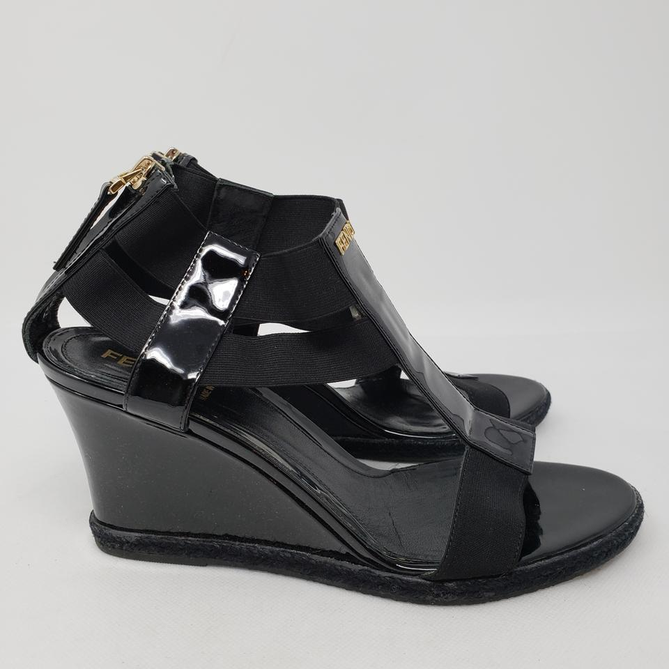 58930a783e58 Fendi Black Patent Leather Zucca Logo Wedges Sandals Size EU 37.5 ...