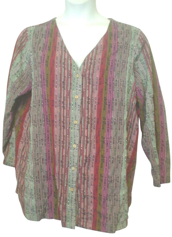 8ae34f8b32 Roaman's Red Green Black Pink Striped Long Sleeve Shirt 20w 1x Style Button-down  Top