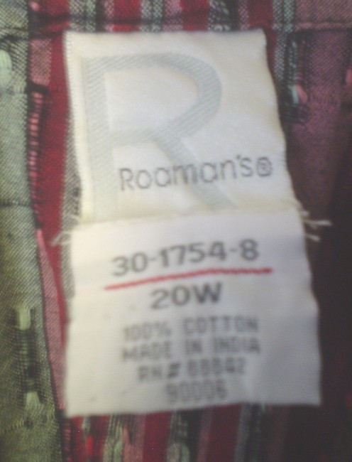 Roaman's Abstract Striped Shirt 20w Button Down Shirt Red Green Image 4