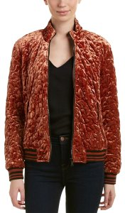 Bernardo Quilted Leather Bomber Mahogany Brown Jacket