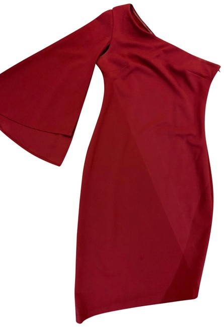 Calvin Klein Cape Sleeve Asymmetrical One Shoulder Nye Dress Image 1