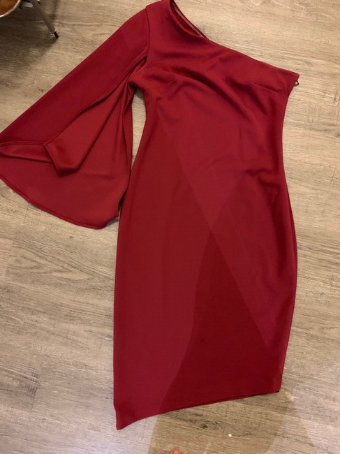 Calvin Klein Cape Sleeve Asymmetrical One Shoulder Nye Dress Image 2