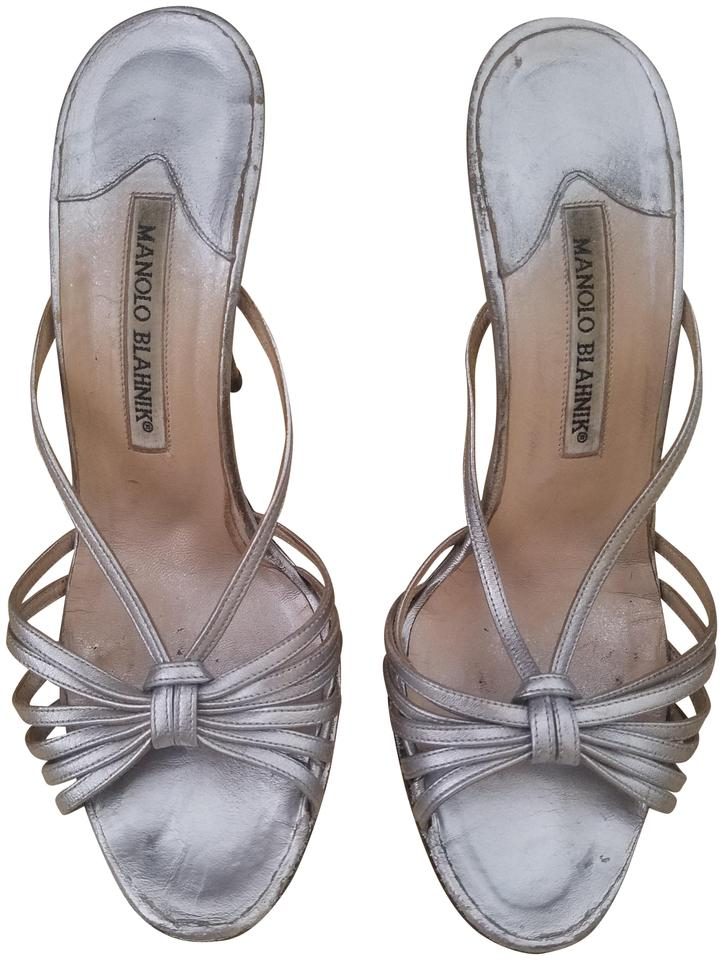 5dbae8c30c3 Manolo Blahnik Silver Vintage Leather Strappy 7 7.5 Sandals Size US ...