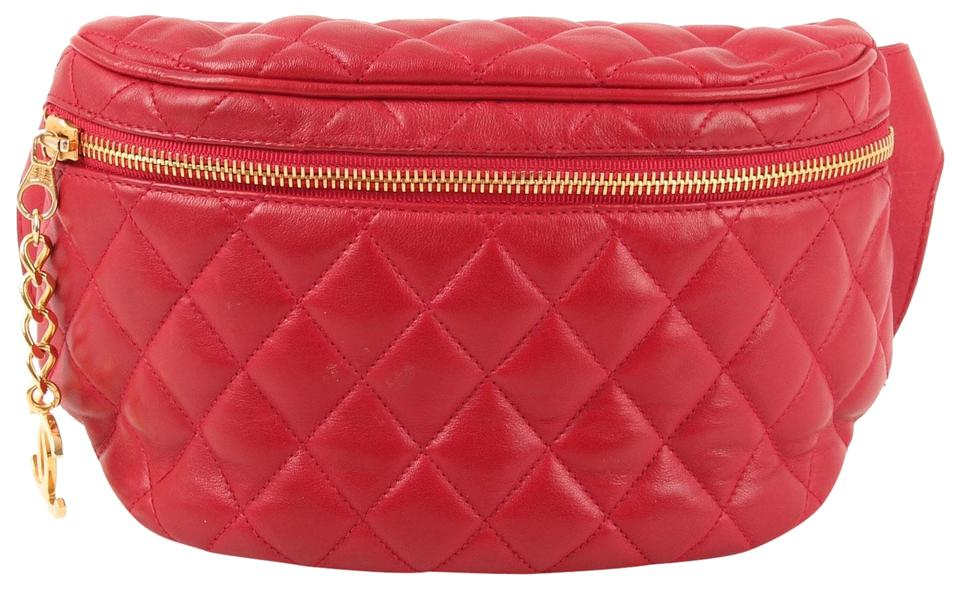 5cce248c7b6315 Chanel Vintage Quilted Waist Belt Fanny Pack Red Lambskin Leather ...