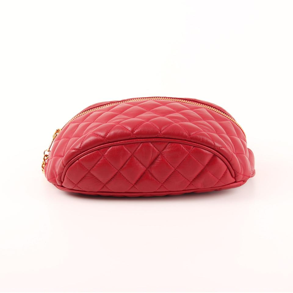 873cf511f Chanel Belt Vintage Quilted Waist Fanny Pack Red Lambskin Leather Cross  Body Bag - Tradesy