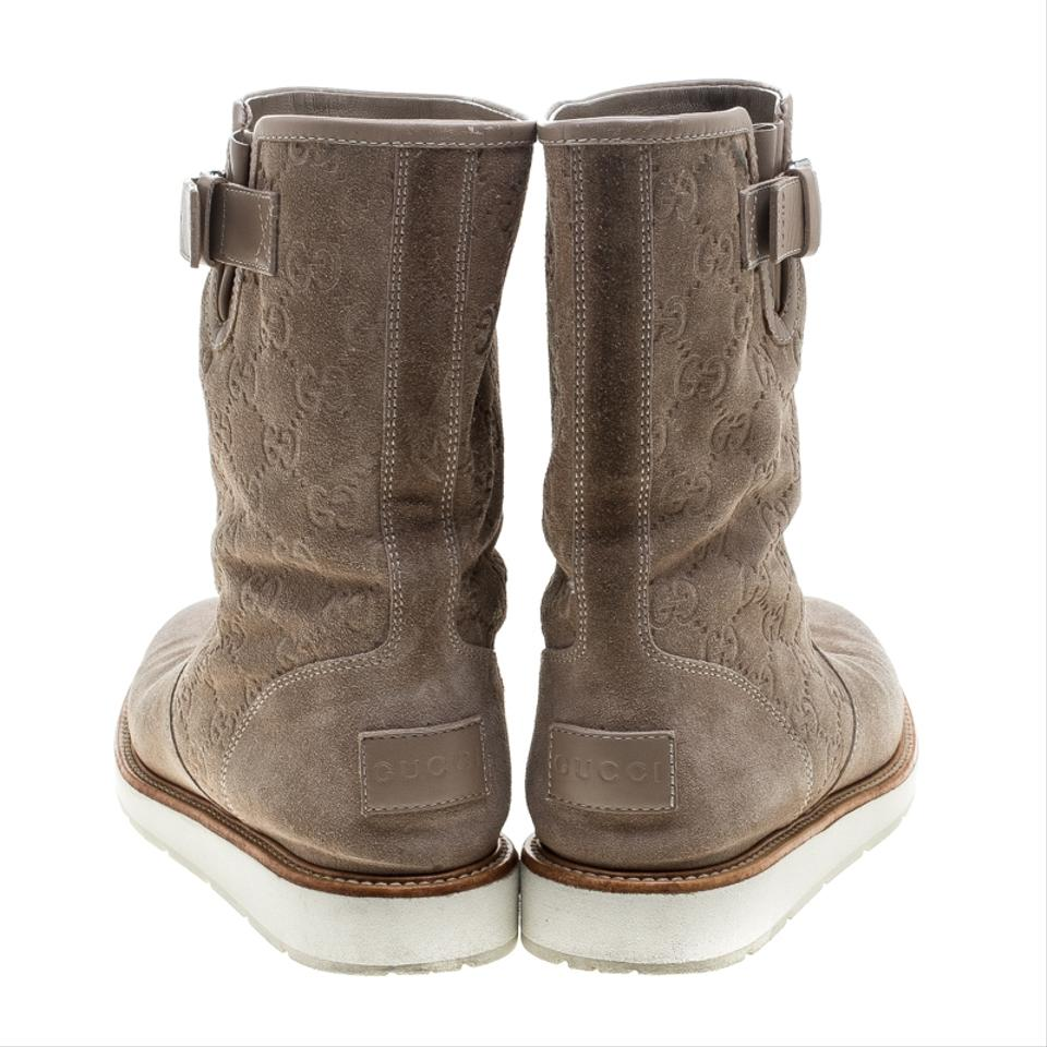 c0966282d Gucci Beige Guccissima Suede Quercy Flat Boots Booties Size EU 37.5  (Approx. US 7.5) Regular (M