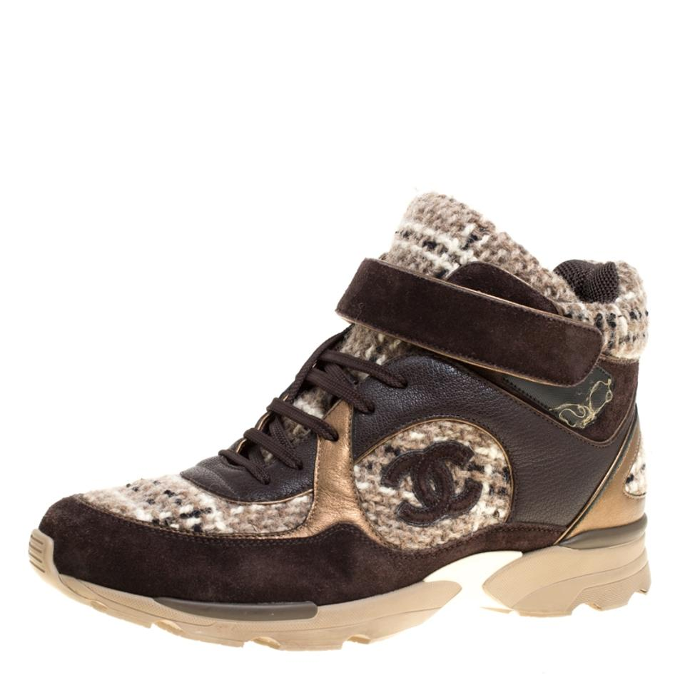 542f2014dff22 Brown Woolen Tweed and Metallic Leather Lace Up Sneakers Sneakers