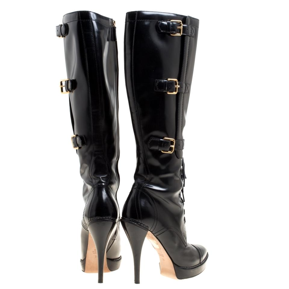 530def2e7fd Gucci Black Leather Riddle Lace-up Platform Knee Boots Booties Size EU 39  (Approx. US 9) Regular (M