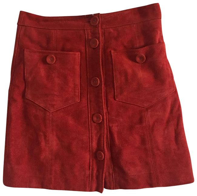 Preload https://img-static.tradesy.com/item/24138529/topshop-red-suede-skirt-size-2-xs-26-0-1-650-650.jpg