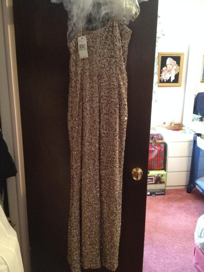 A.B.S. by Allen Schwartz Tan Abs Column Traditional Bridesmaid/Mob Dress Size 8 (M) Image 4