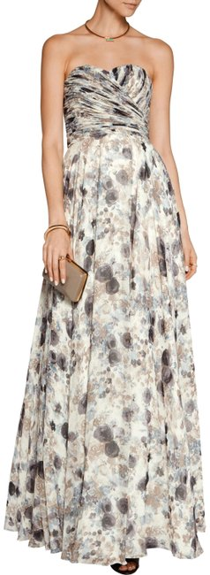 Item - Pleated Printed Chiffon Gown Long Formal Dress Size 6 (S)