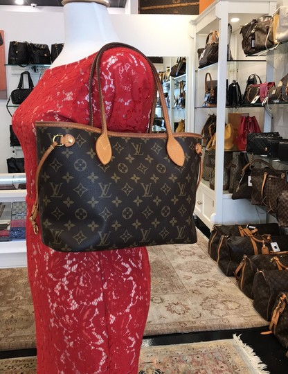 Louis Vuitton Neverfull Classic Leather Monogram Tote in Brown Image 10