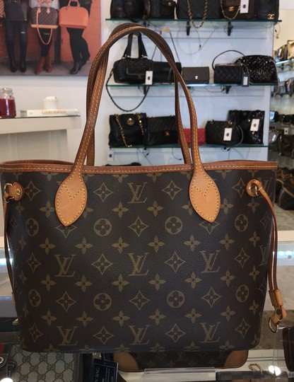 Louis Vuitton Neverfull Classic Leather Monogram Tote in Brown Image 7