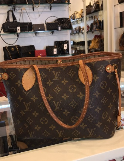 Louis Vuitton Neverfull Classic Leather Monogram Tote in Brown Image 8