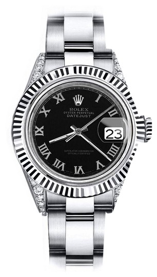 Preload https://img-static.tradesy.com/item/24139058/rolex-stainless-steel-black-roman-31mm-datejust-ss-and-18k-white-gold-fluted-bezel-and-diamond-watch-0-1-540-540.jpg