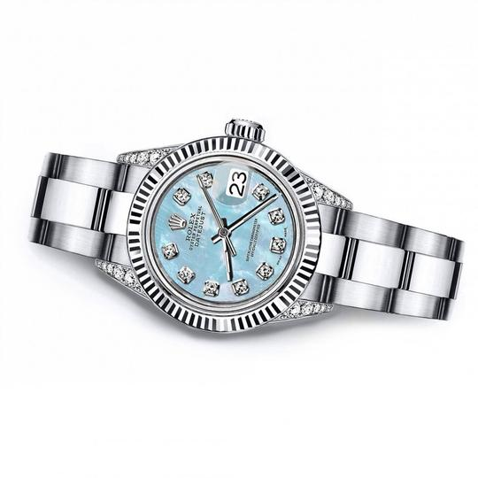 Rolex Rolex Baby Blue Pearl 31mm Datejust SS & 18K Gold Bezel With Diamond Image 2