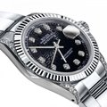 Rolex Rolex Black Logo 31mm Datejust 18K / SS With Diamond Shoulders Oyster Image 1