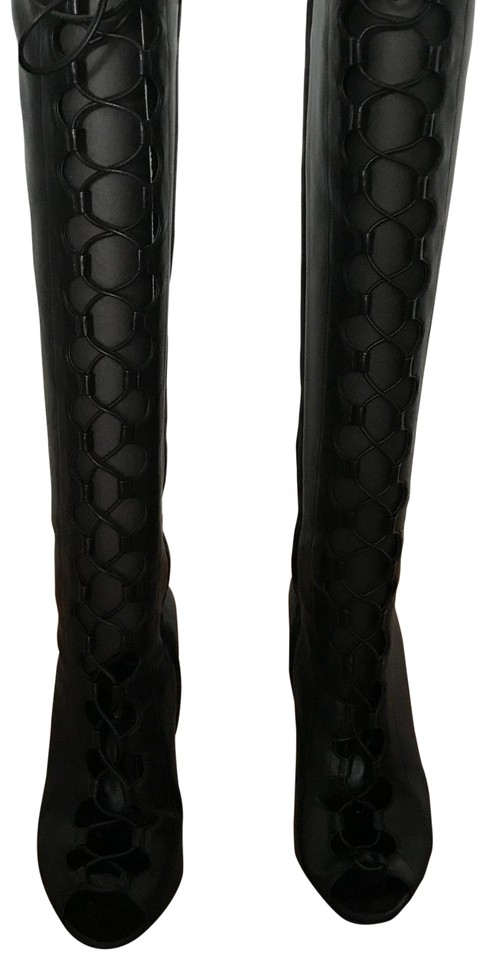 authorized site info for large discount Gianvito Rossi Black Open Toe Lace Up Knee Boots/Booties Size EU 37  (Approx. US 7) Regular (M, B)