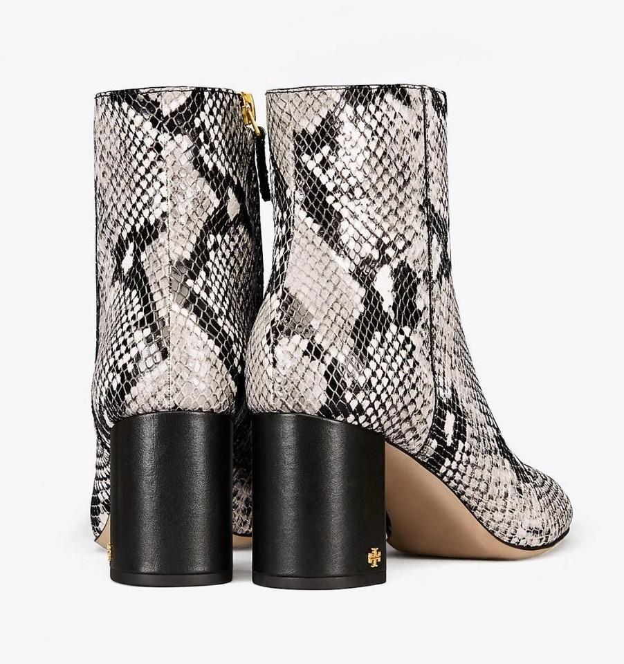 ec306bfd7fed Tory Burch Black Snakeskin New Leather Ankle Box Boots Booties Size ...