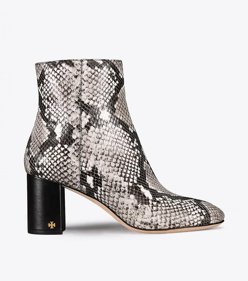 57154576cb66 Tory Burch Black Snakeskin New Leather Ankle Box Boots Booties Size US 7  Regular (M