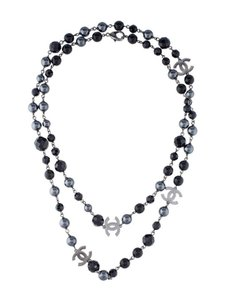 Chanel CHANEL PEARL NECKLACE CC LOGO GRAY Silver Ruthenium AUTHENTIC