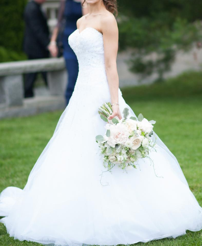60a1fe0f Sophia Tolli White Satin Tulle Y21521 Formal Wedding Dress Size 0 (XS)  Image 0 ...