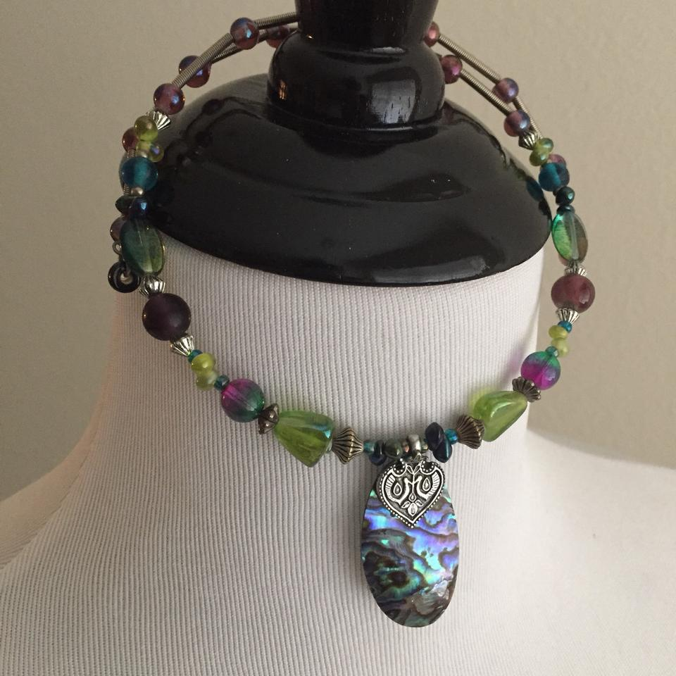 2ee7bb28e Acorn Green Purple Blue Glass Bead Choker Necklace - Tradesy