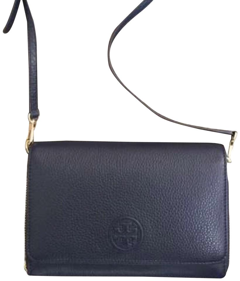 3ffb3db1478f Tory Burch Black Leather Wallet Gold Hardware Cross Body Bag Image 0 ...