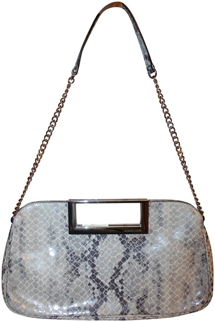 Item - Python-print Pearl Grey Cow Leather Clutch