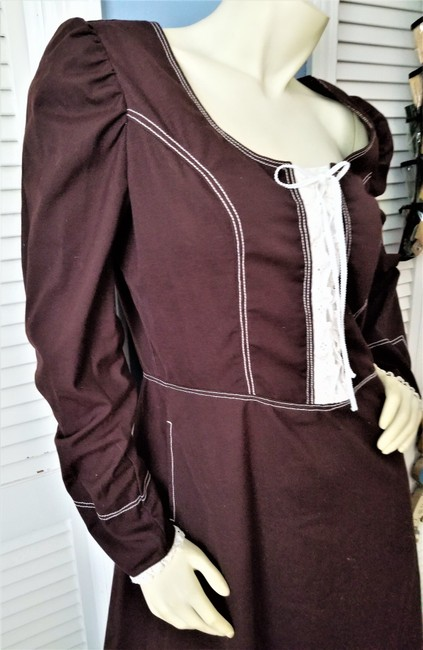 Brown Maxi Dress by custom made Pilgrim Costume Colonial Costume Cotton