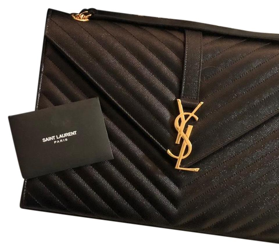 d103d208a8a3 Saint Laurent Cassandre Ysl Envelope Black Calfskin Leather Shoulder ...