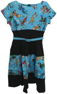 Pinup Couture short dress Blue & black Disney Epcot Space Pockets Belted on Tradesy