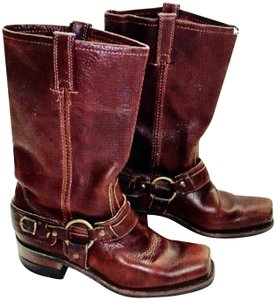 Frye Tall Harness Country Girl Chestnut Brown Boots