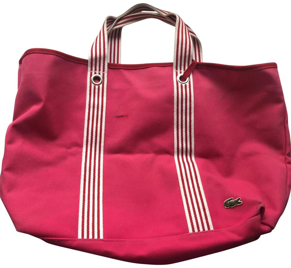 76dacb467 Lacoste Pink and White Canvas Beach Bag - Tradesy