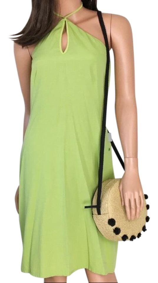 0351d7aecc Versace Jeans Collection Green Halter Keyhole Short Casual Dress ...