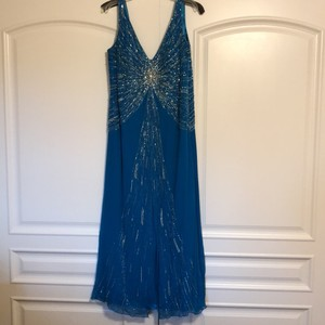 Stephen Yearick Blue with Silver and Multi Color Beading. Silk Polyester Lining. Mother Of The Bride Beaded Gown Formal Bridesmaid/Mob Dress Size 18 (XL, Plus 0x)