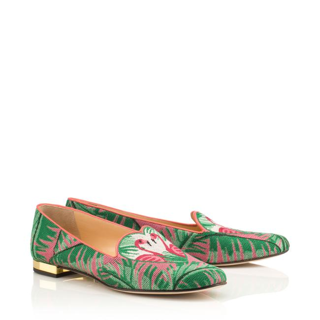 Item - Green and Pink Flamingo Slippers Flats Size US 7 Regular (M, B)