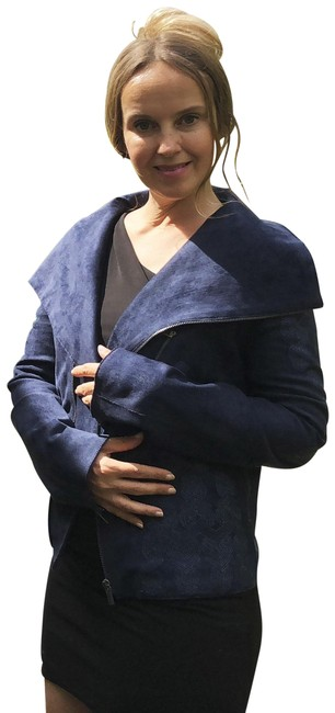 Item - Navy XS Moto Faux Suede Jacket Size 2 (XS)