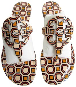 Tory Burch Miller Leather Patent Octagon Square Flat Ballet Pink Multi Color Sandals