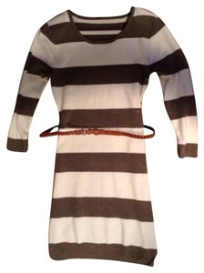 Poof! Apparel short dress White With Brown Strips Sweater Sweater Occasion Warm Belt Sleeve on Tradesy
