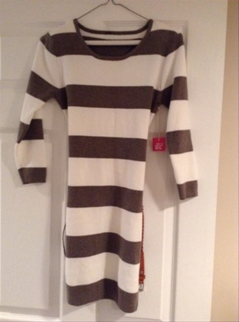 Poof! Apparel short dress White With Brown Strips Sweater Sweater Occasion Warm Belt Sleeve on Tradesy Image 1