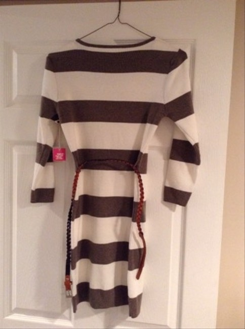 Poof! Apparel short dress White With Brown Strips Sweater Sweater Occasion Warm Belt Sleeve on Tradesy Image 2