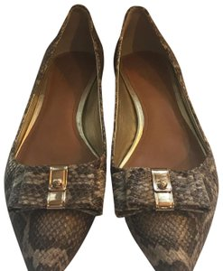 Coach tan and gray snakeskin Mules