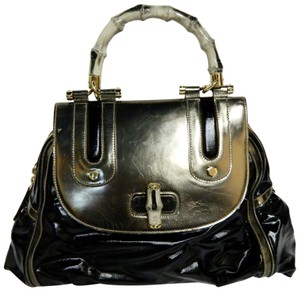 Gucci Leather Bamboo Vintage Satchel in Black and Silver