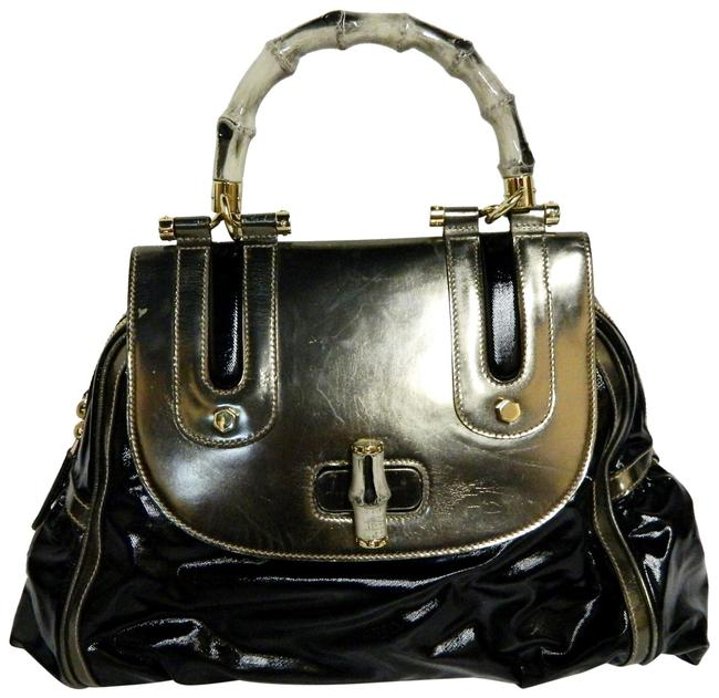 Item - Dialux Pop Bamboo Black and Silver Leather Textured Nylon Satchel