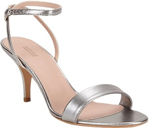 Barneys New York Metallic Leather Strappy Silver Sandals