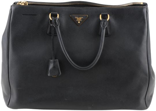 1fe7b6a5a387 Prada Galleria Double Lux Saffiano Large Zip Black Coated Canvas ...
