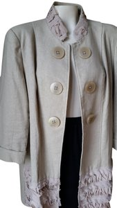Multiples Linen Cotton Buttons Trench Coat