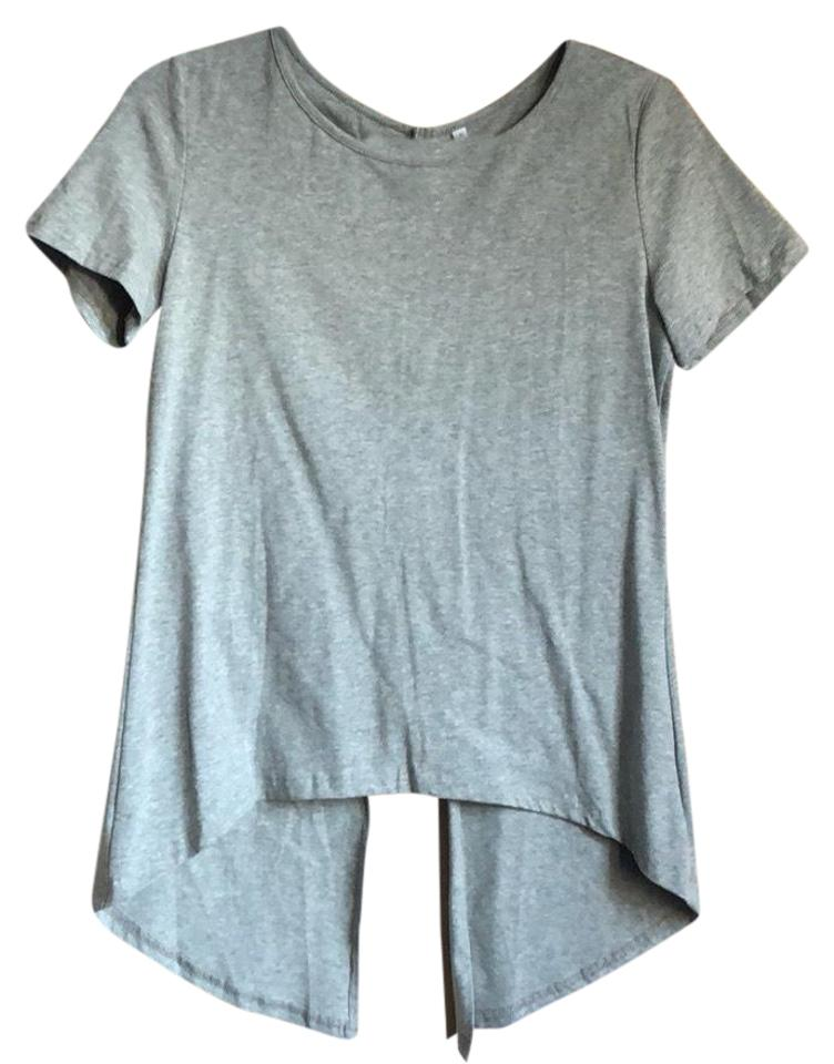 6af2224077 SheIn Gray New Open Back Tee Shirt Size 6 (S) - Tradesy