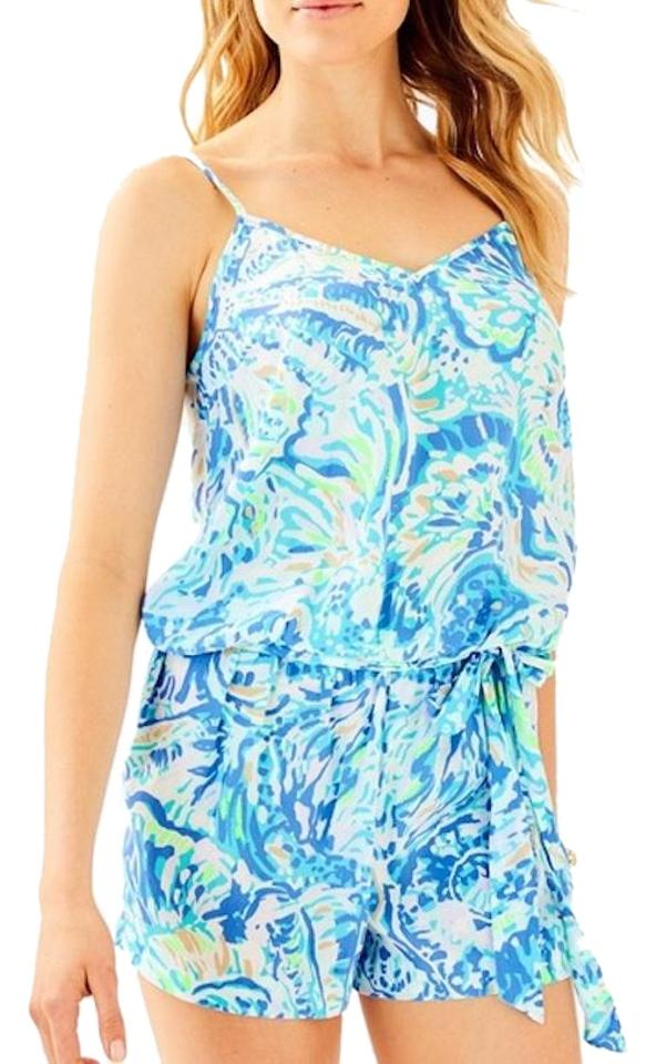 f0206eb3217 Lilly Pulitzer Blue Deanna Bennet Salty Seas Romper Jumpsuit - Tradesy